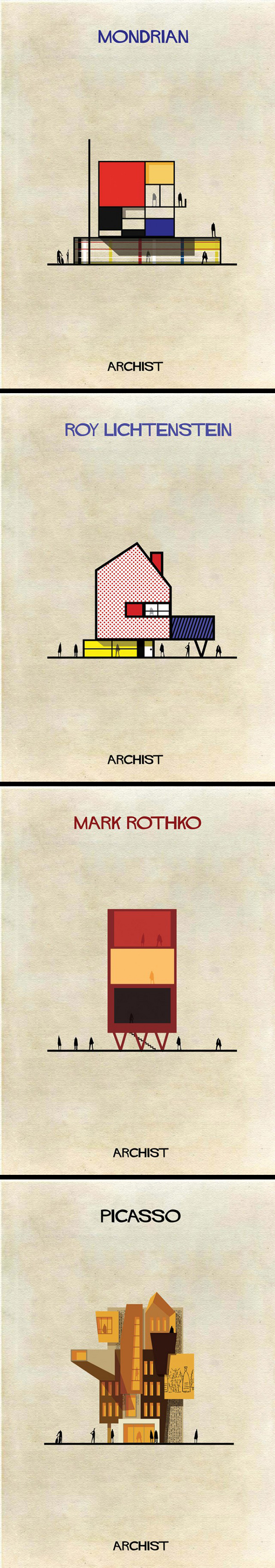 ArchistsInspirations graphiques graphisme : Federico Babina | Famous Archists Creations Posters