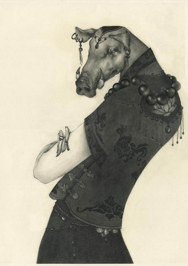 illustrations Lu Ke : les signes du zodiaque chinois (cochon)