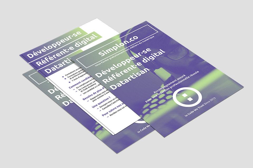 Conception et design graphique d'affiches et de flyers pour la communication de Simplon.co