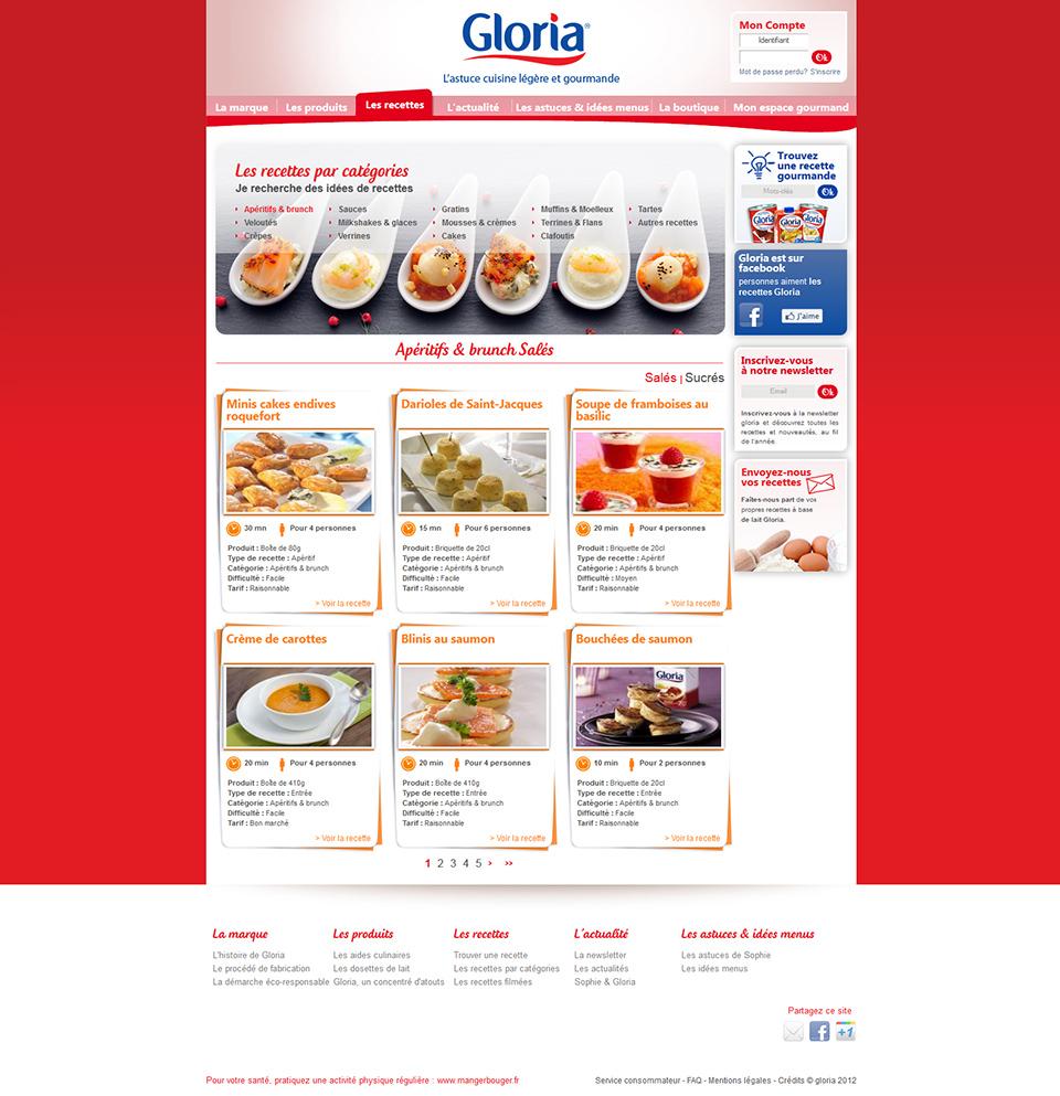 réalisation du site internet www.recettes-gloria.fr
