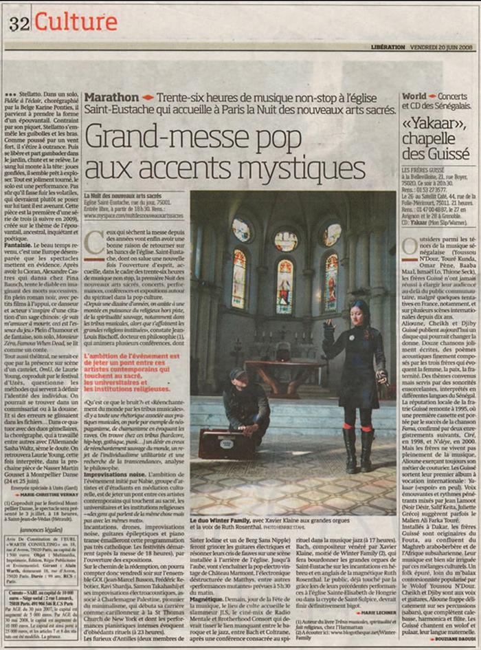 Porfolio da-conceicao.com : événementiels : Saint-Eustache : La nuit des nouveaux arts sacrés. Article libération