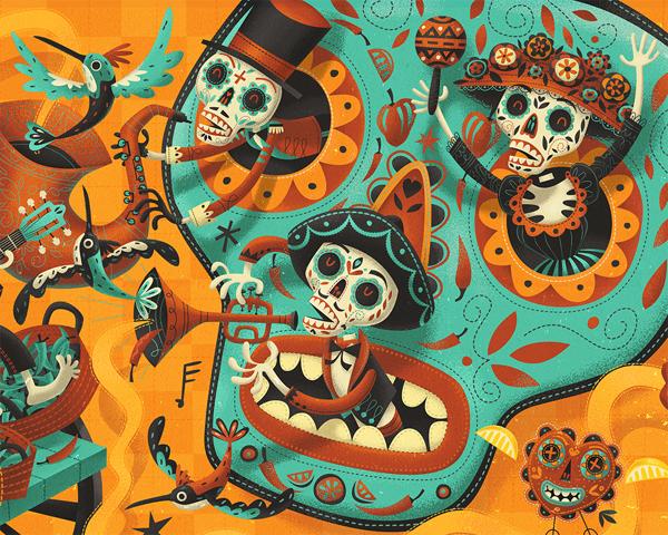 Steve Simpson | TUZO - Mexican Kitchen (main mural detail)