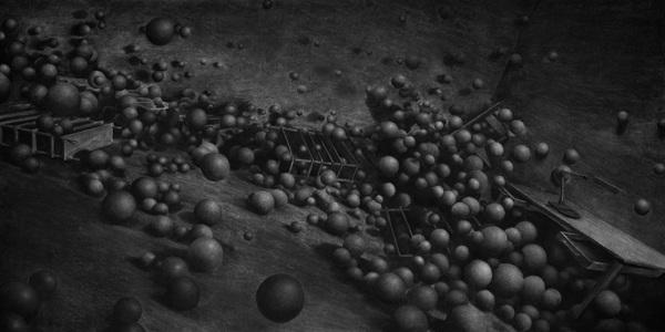 Levi van Veluw | Spheres, 240 x 120cm, Charcoal on paper, 2013