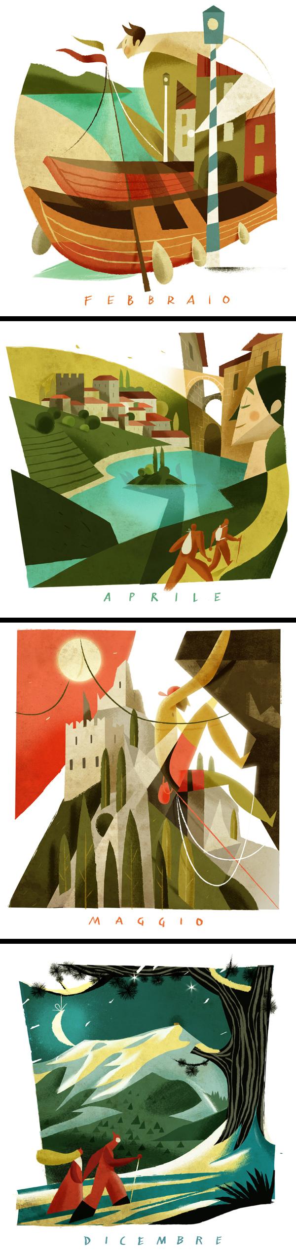 Inspirations graphiques illustration Riccardo Guasco Calendario Cassa Rurale dell'Alto Garda