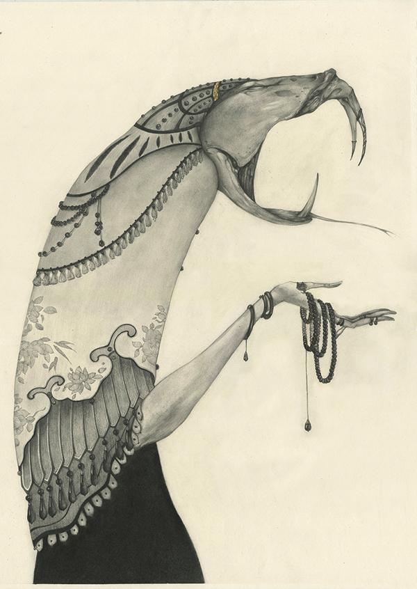 illustrations Lu Ke : les signes du zodiaque chinois (serpent)
