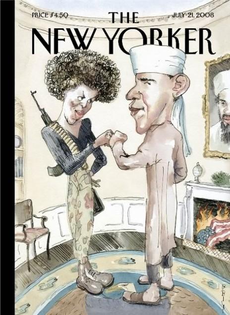 l'Obama islamiste de Barry Blitt   Une du 21 juillet 2008, pendant la campagne pour l'investiture démocrate