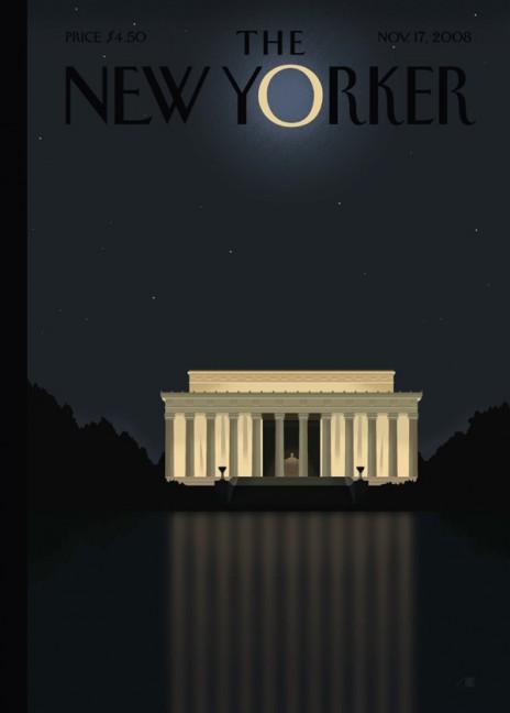 Lincoln dans la lumière d'Obama, de Bob Staake   Une du 17 novembre 2008, après l'élection de Barack Obama