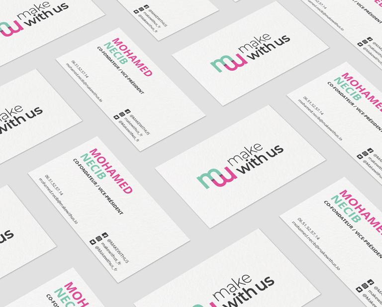 créations graphiques pour l'association Make With Us - carte de visite