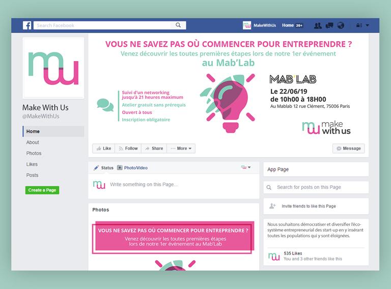 créations graphiques pour l'association Make With Us - créations pour les réseaux sociaux