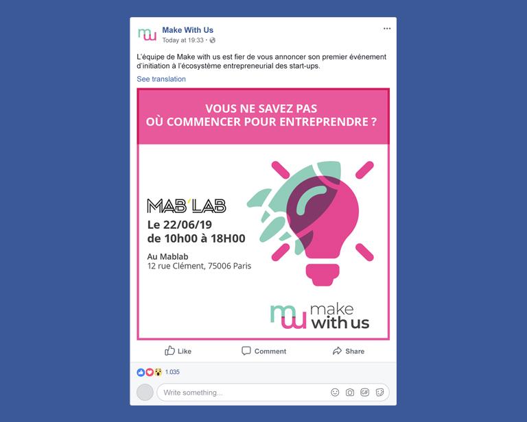 créations graphiques pour l'association Make With Us - créations pour les réseaux sociaux - facebook