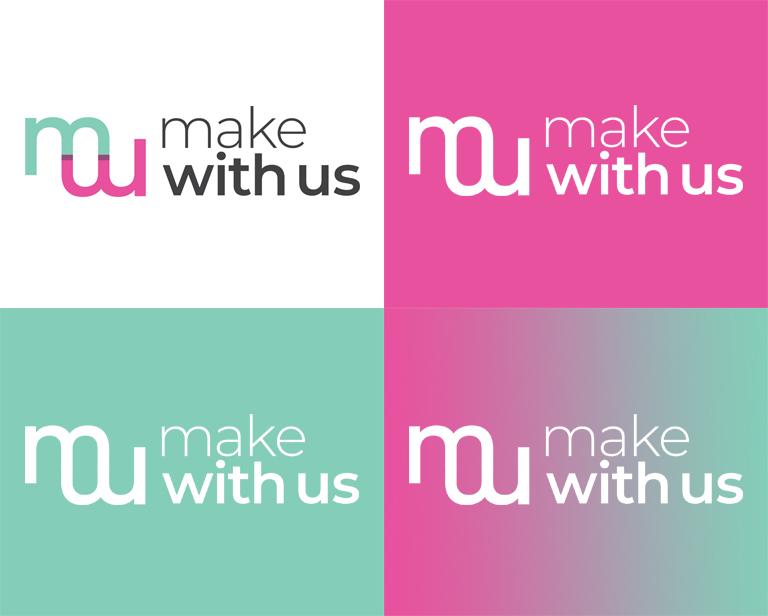 créations graphiques pour l'association Make With Us - déclinaison de logotypes sur plusieurs couleurs